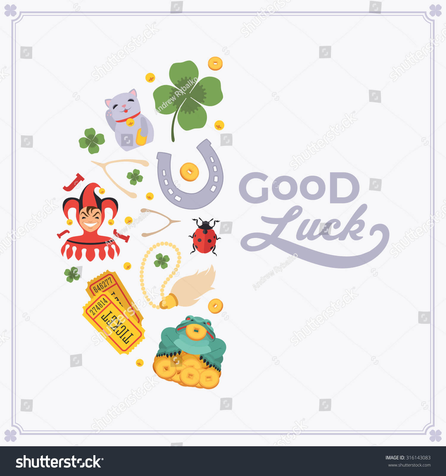 Vector Decorating Design Made Lucky Charms Stock Vector with regard to Good Luck Card Template