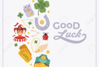 Vector Decorating Design Made Of Lucky Charms, And The Words.. for Good Luck Card Templates