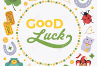 Vector Decorating Design Made Of Lucky Charms, And The Words.. inside Good Luck Card Templates