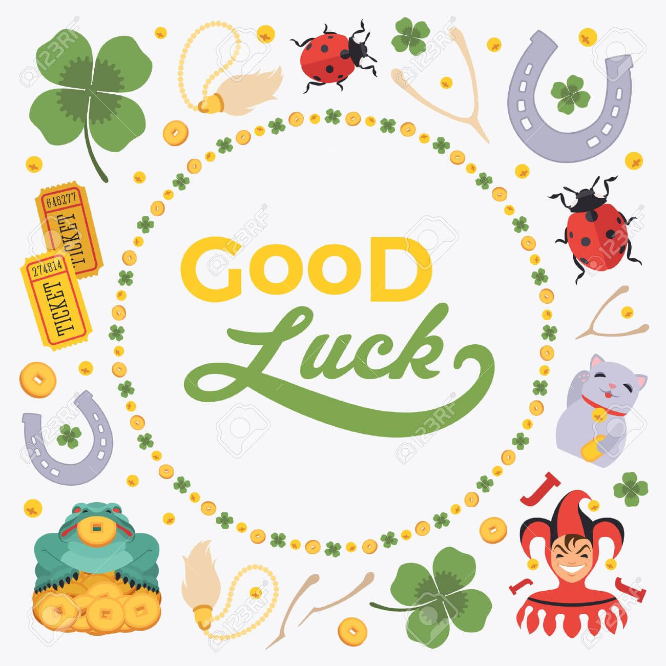 Vector Decorating Design Made Of Lucky Charms, And The Words.. regarding Good Luck Card Template