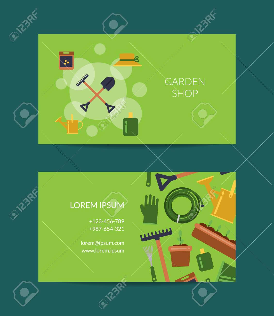 Vector Flat Gardening Icons Business Card Template For Farm And.. for Gardening Business Cards Templates