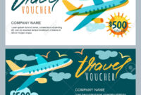 Vector Gift Travel Voucher Template. Multicolor Flying Airplane.. For Free Travel Gift Certificate Template
