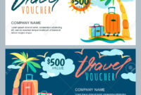 Vector Gift Travel Voucher Template. Tropical Island Landscape.. Inside Free Travel Gift Certificate Template