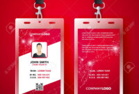 Vector Illustration Red Corporate Id Card Design Template Set inside Company Id Card Design Template