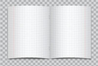 Vector Opened Realistic Squared Elementary School Copybook inside Staples Banner Template