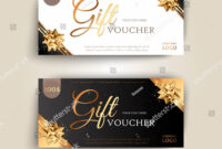 Vector Set Of Luxury Gift Vouchers With Ribbons And Gift Box inside Elegant Gift Certificate Template