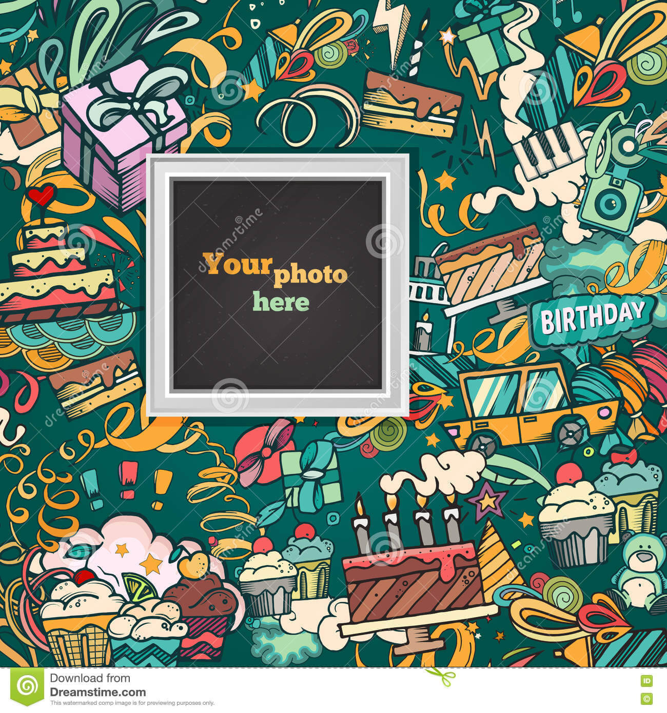 Vector Template Photo Frame Stock Vector - Illustration Of throughout Birthday Card Collage Template