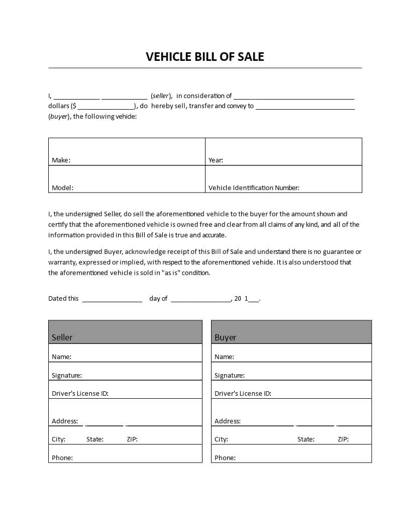 Vehicle Bill Of Sale – Vehicle Bill Of Sale.doc. Easy To In Car Bill Of Sale Word Template