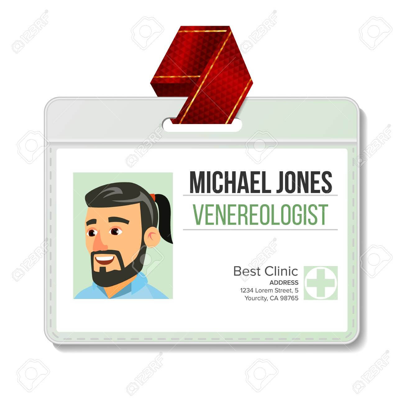Venereologist Identification Badge Vector. Man. Id Card Template within Hospital Id Card Template