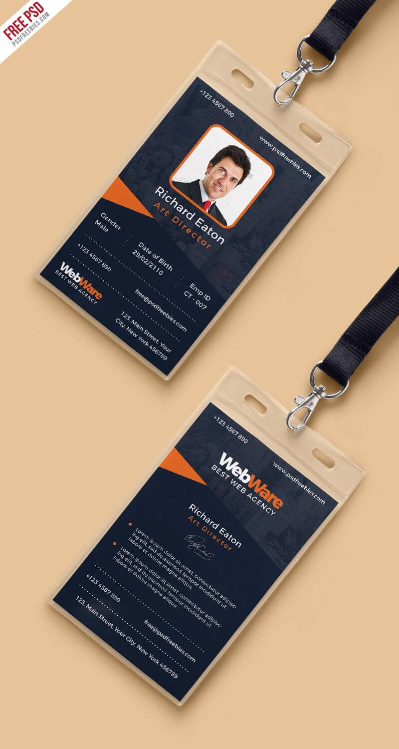 Vertical Company Identity Card Template Psd | Identity Card Intended For Id Card Design Template Psd Free Download
