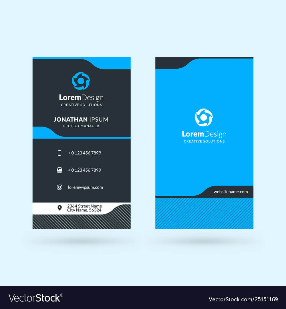 Vertical Double Sided Business Card Template For Double Sided Business Card Template Illustrator