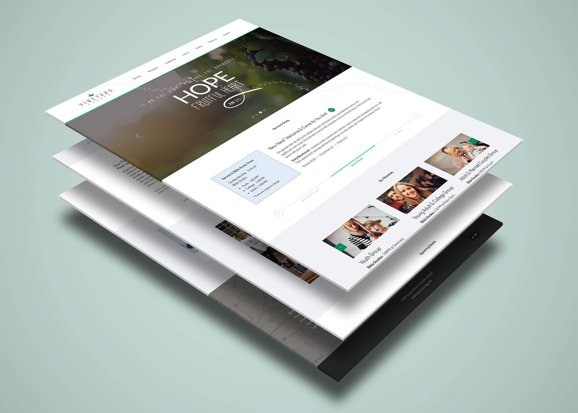 Vineyard Church - One Page Psd Template For Single Page within Single Page Brochure Templates Psd