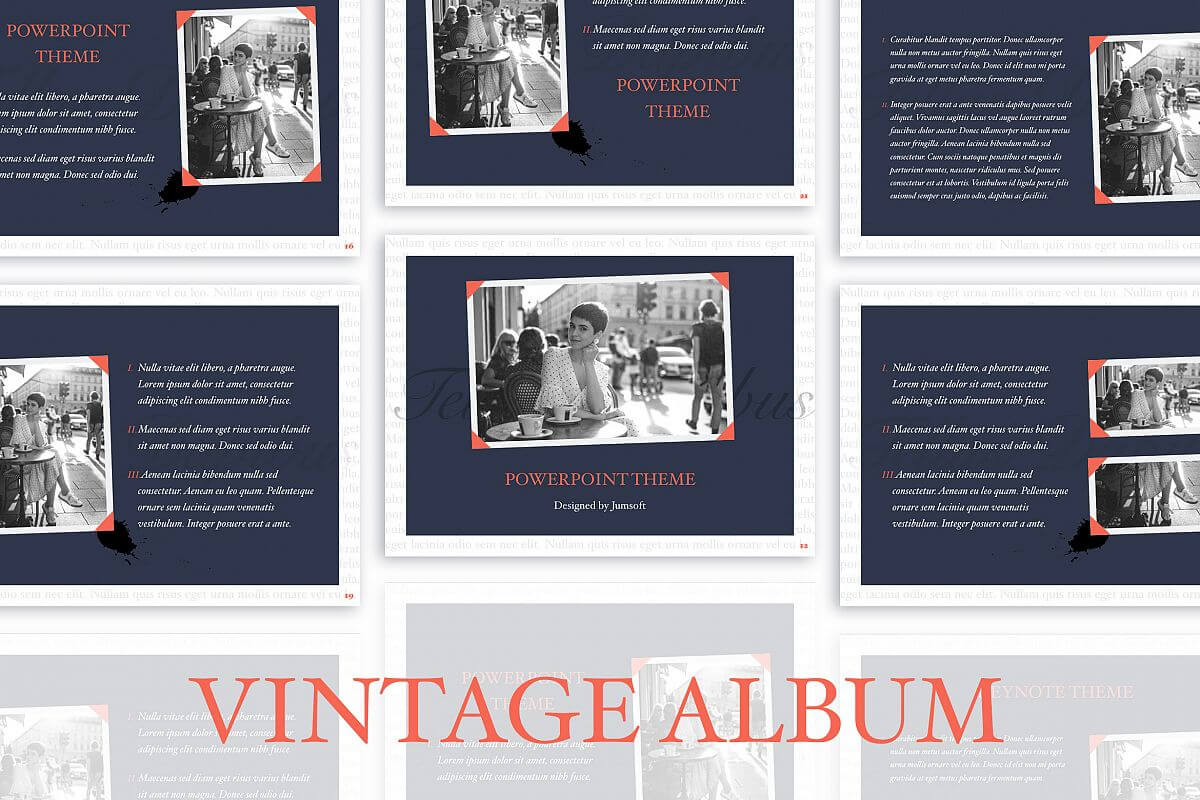 Vintage Album Powerpoint Template Throughout Powerpoint Photo Album Template
