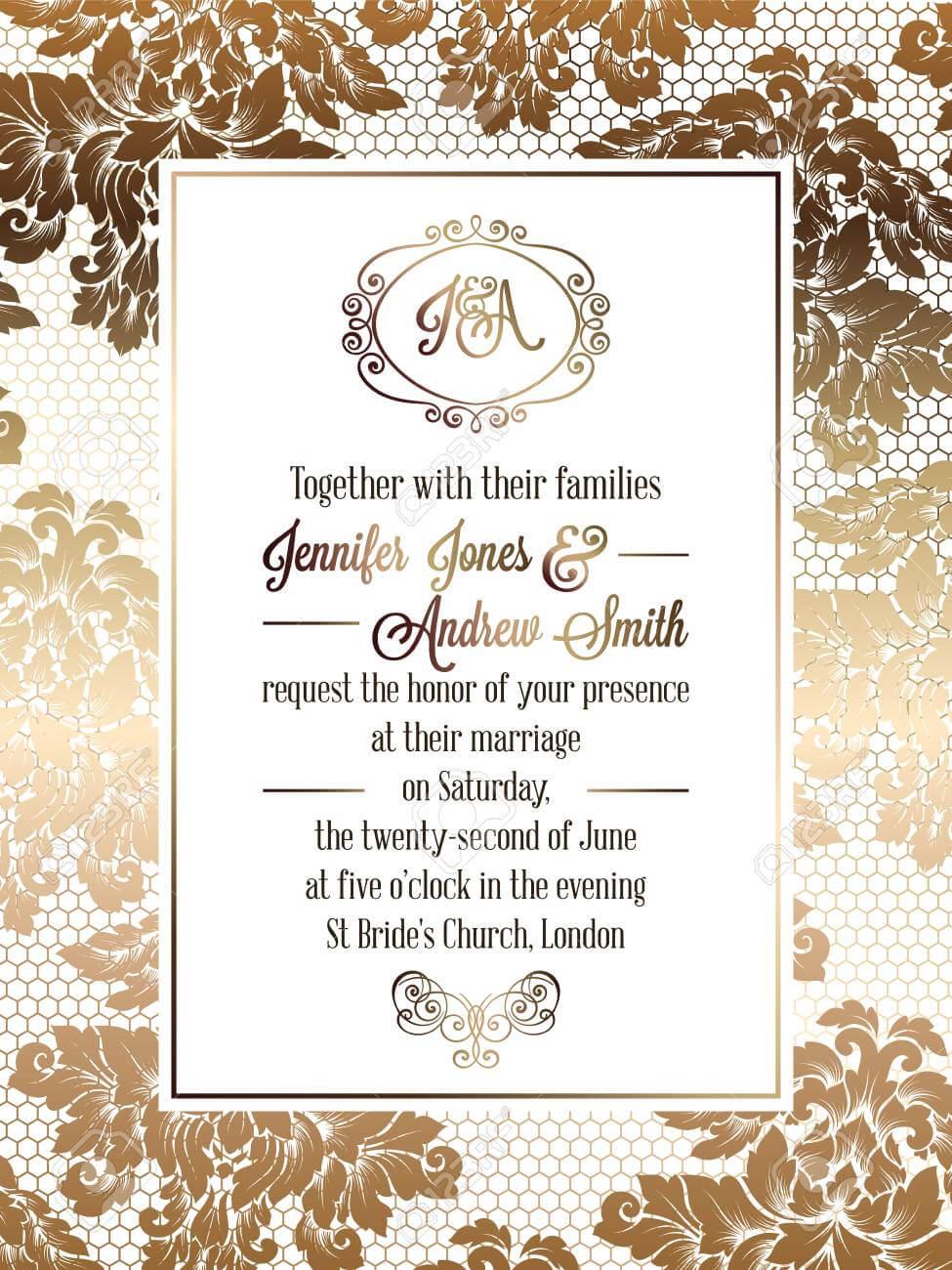 Vintage Baroque Style Wedding Invitation Card Template.. Elegant.. For Invitation Cards Templates For Marriage