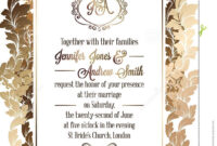 Vintage Baroque Style Wedding Invitation Card Template inside Church Invite Cards Template