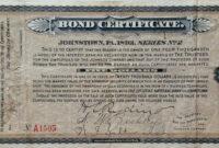 Vintage Johnstown 1893 Bond Certificate Template within Corporate Bond Certificate Template