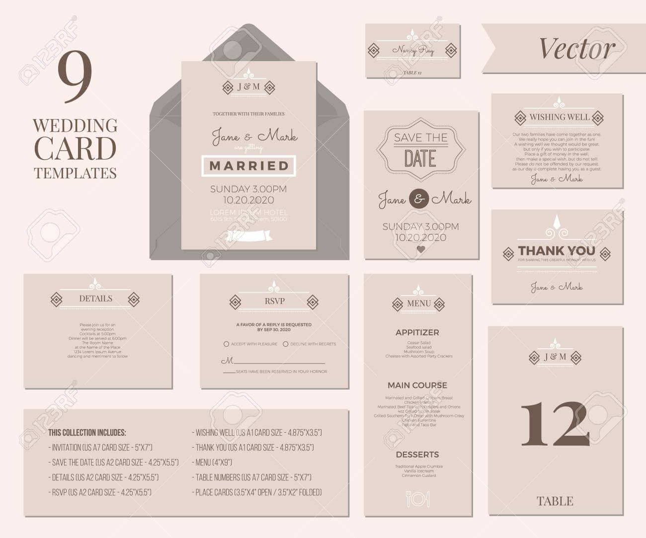 Vintage Minimal Wedding Invitation Card Collection Set Template.. for Wedding Card Size Template