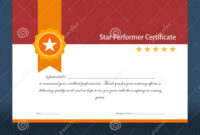 Vintage Red And Gold Star Performer Certificate Stock Vector with Star Performer Certificate Templates