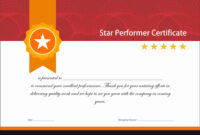 Vintage Red And Gold Star Performer Certificate throughout Star Performer Certificate Templates
