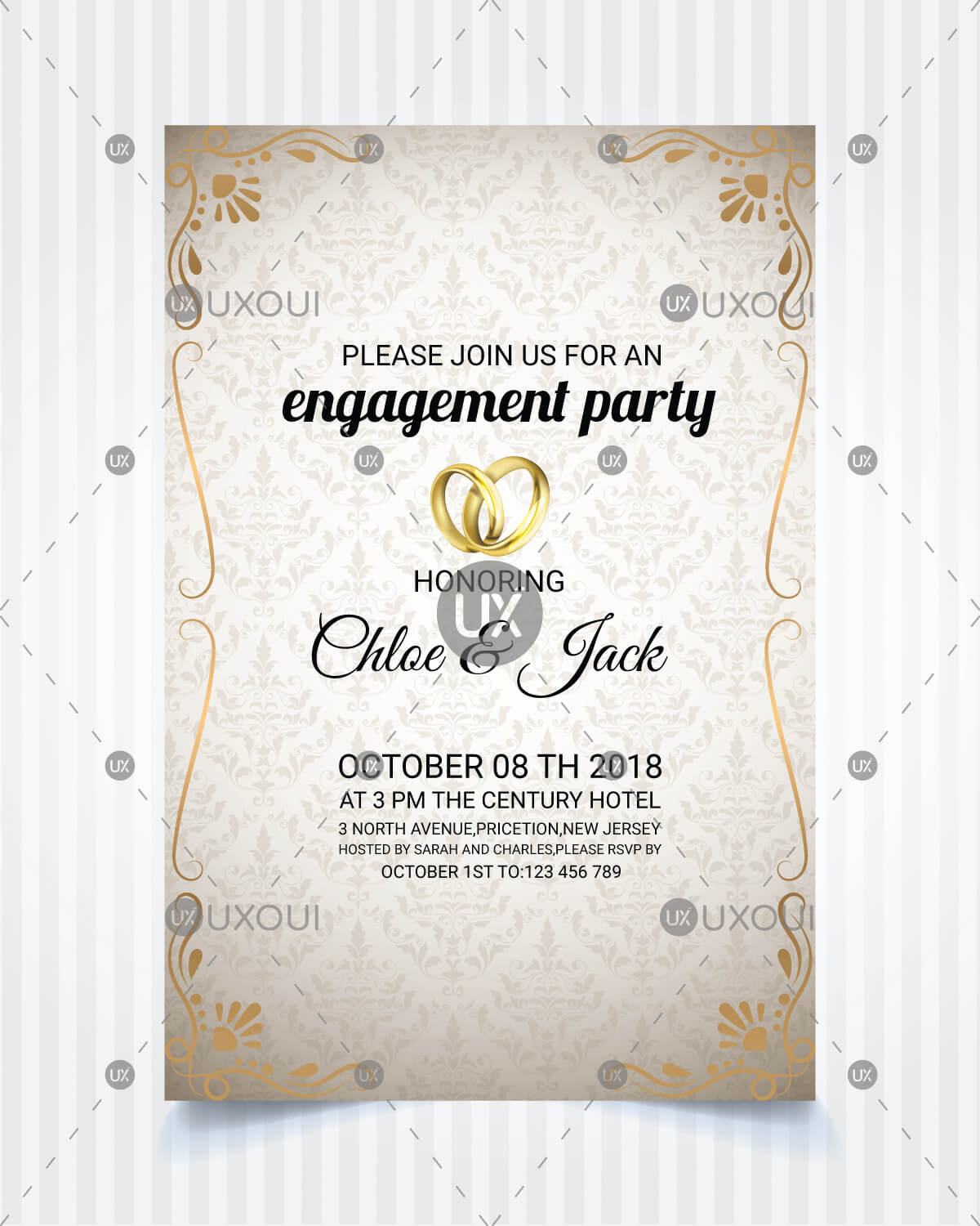 Vintage Style Wedding Engagement Party Invitation Card Template Design  Vector throughout Engagement Invitation Card Template