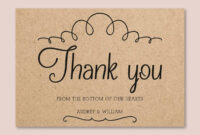 Vintage Wedding Thank You Card Template For Word Or Pages, Printable  Wedding Invitation, Kraft Paper Thank You, Docx File Instant Download with Thank You Card Template Word