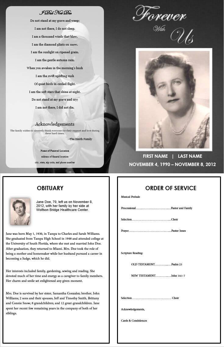 Virgin Mary Memorial Program | Funeral Program Template Free For Memorial Brochure Template