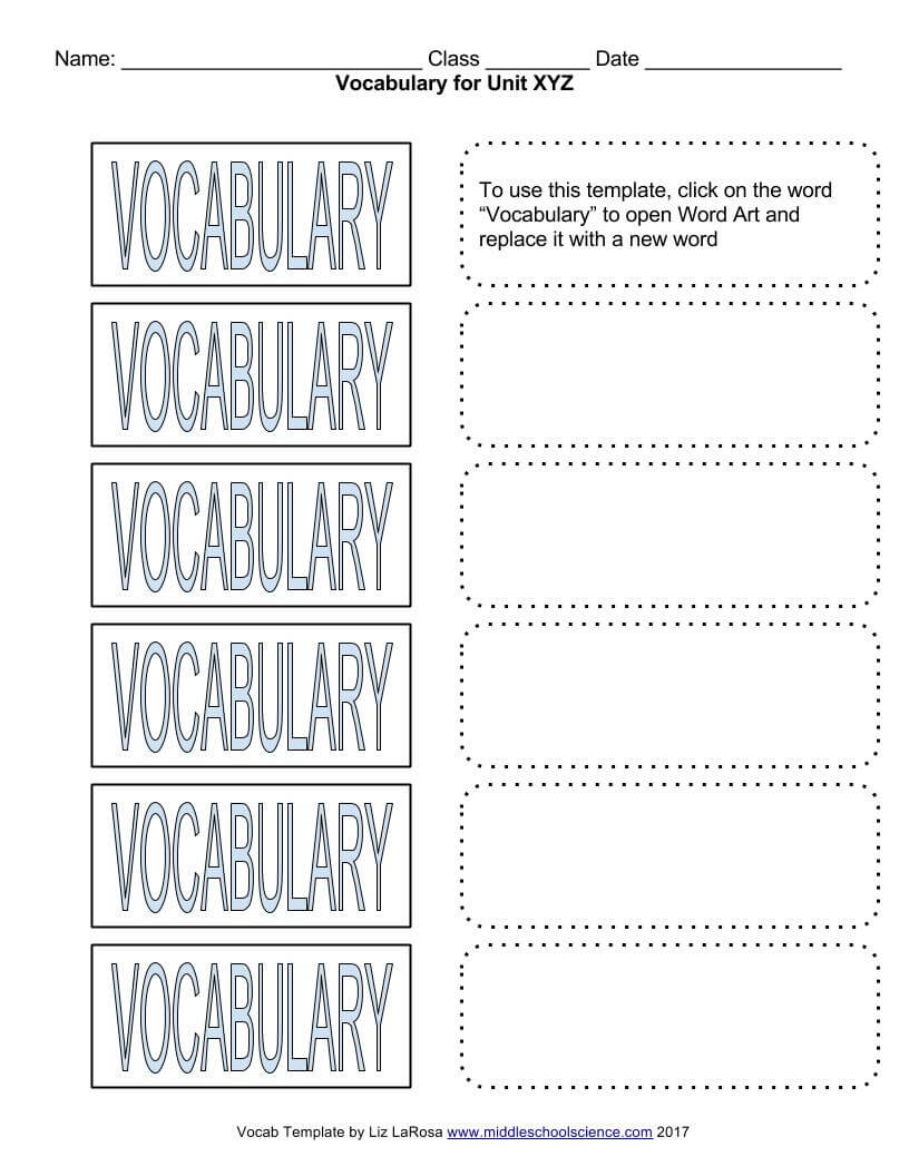 Vocabulary Bundle – Google Draw Template For Cut & Paste For Vocabulary Words Worksheet Template