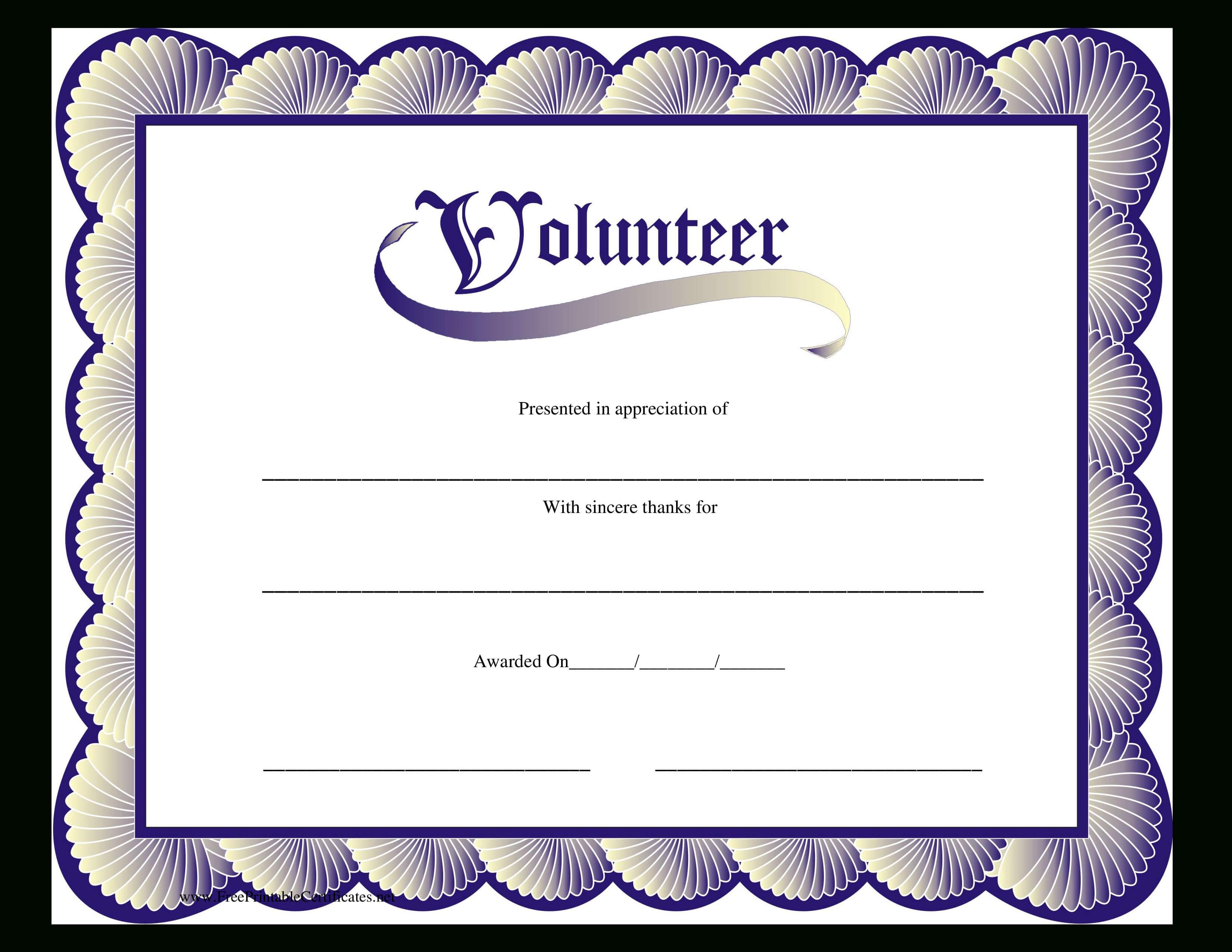Volunteer Certificate | Templates At Allbusinesstemplates with Volunteer Certificate Template