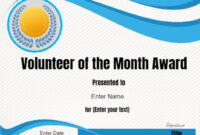 Volunteer Of The Month Certificate Template In 2019 for Volunteer Certificate Templates