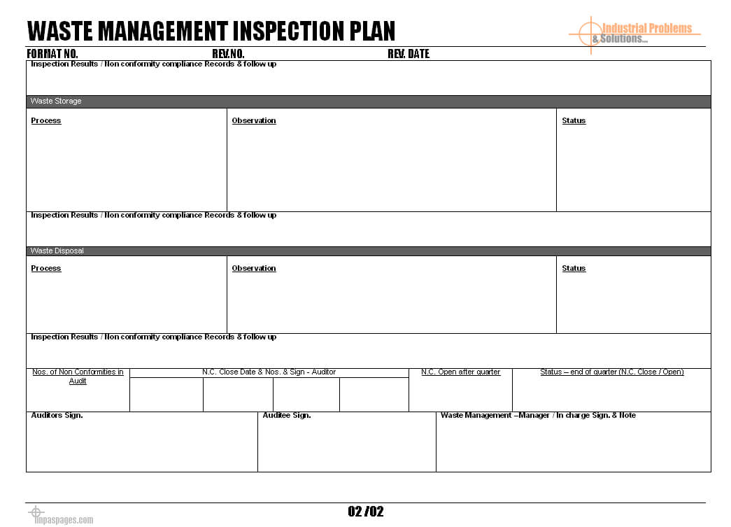 Waste Management Inspection Plan Format With Waste Management Report Template