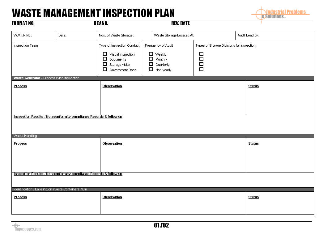 Waste Management Inspection Plan - In Waste Management Report Template