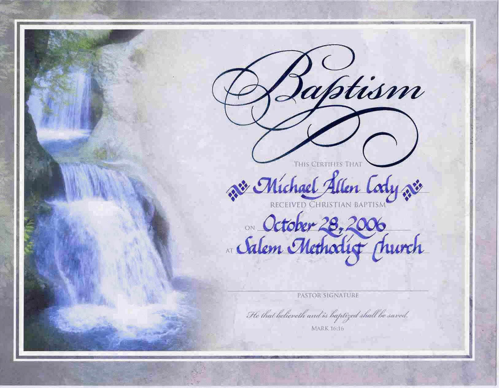 Water Baptism Certificate Templateencephaloscom For Baptism Certificate Template Download