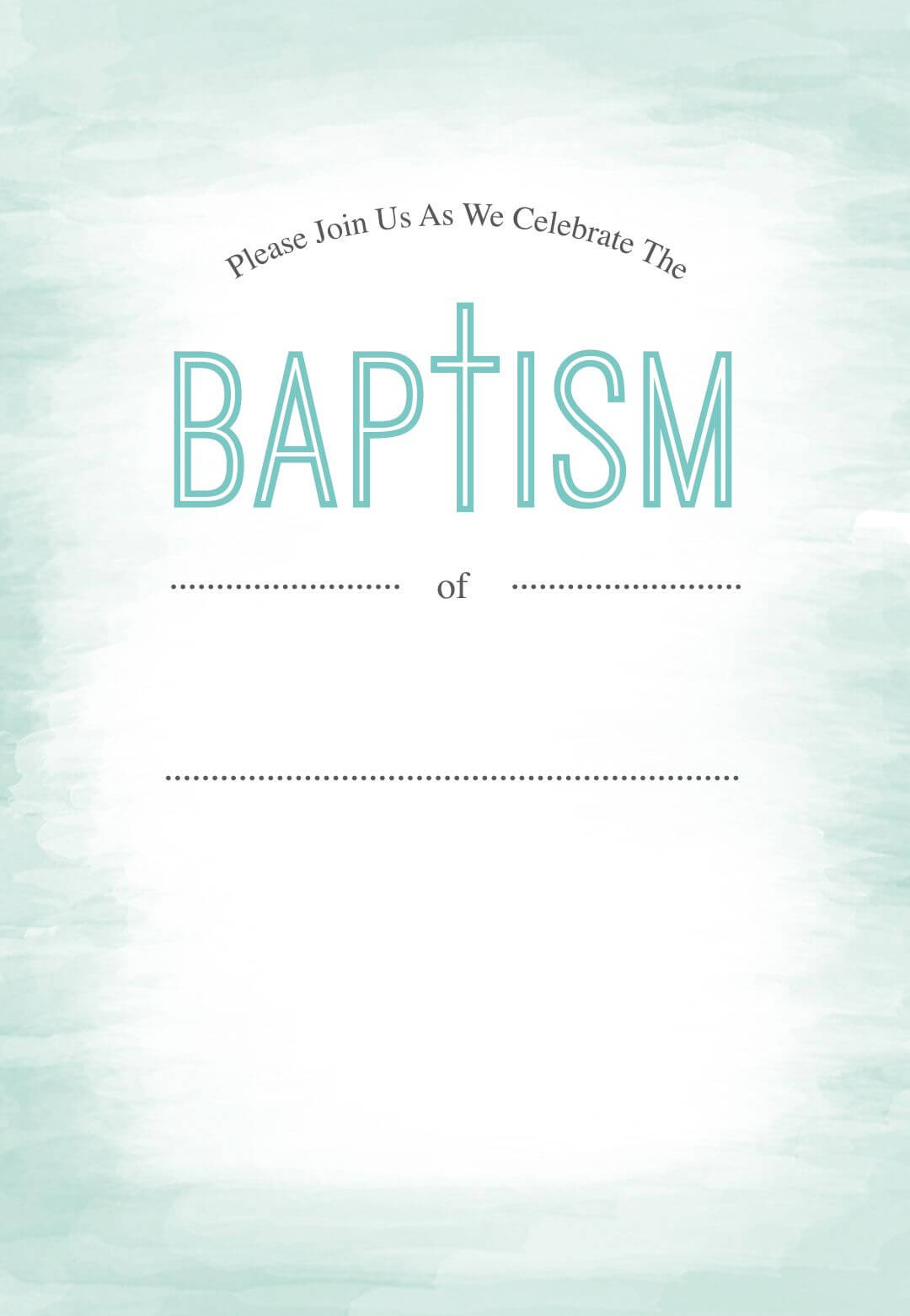 Water - Baptism & Christening Invitation Template (Free Intended For Blank Christening Invitation Templates