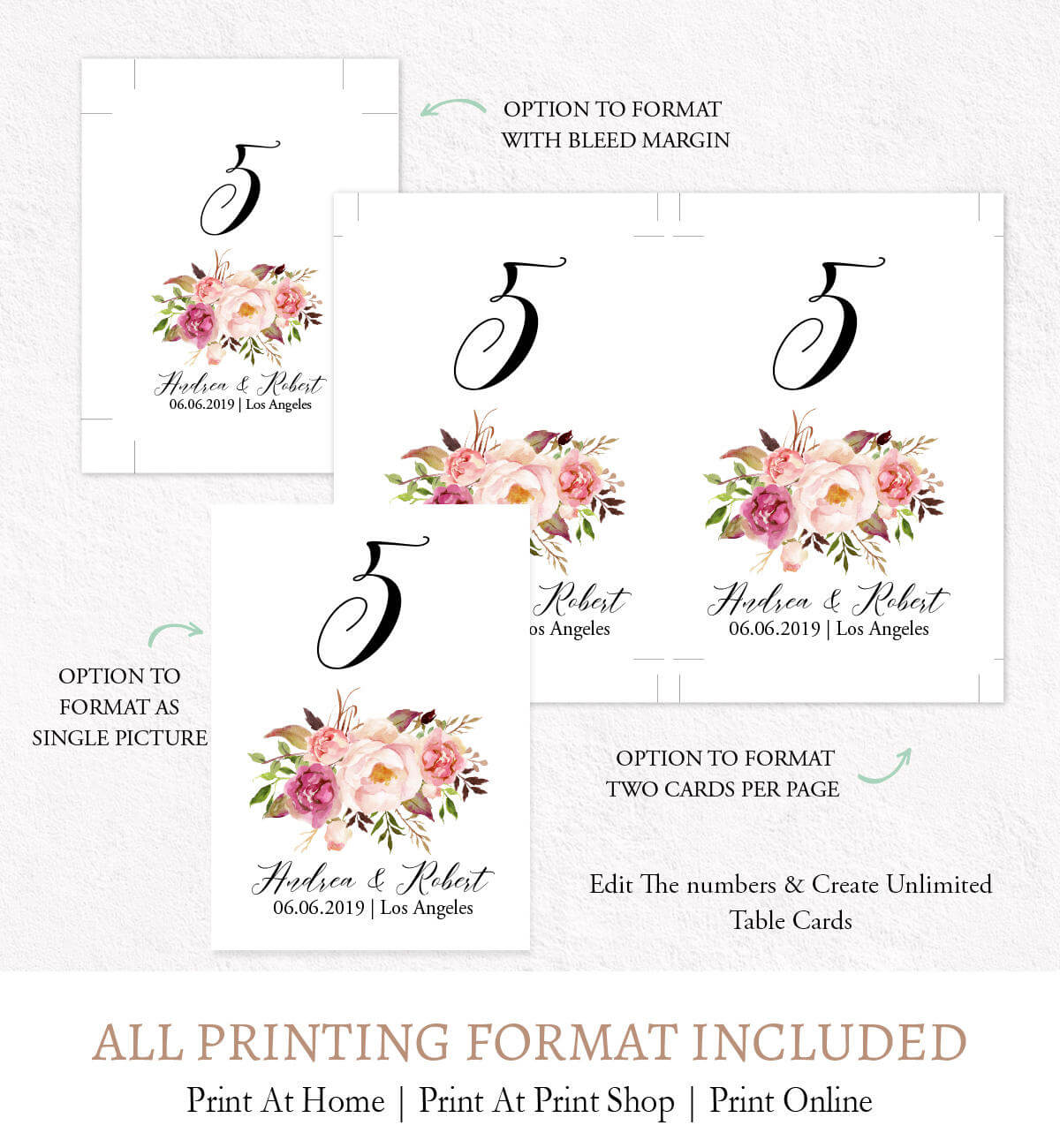Watercolor Flowers Table Numbers Signage, Editable Numbers Card Template  Digital Printable F9 pertaining to Table Number Cards Template