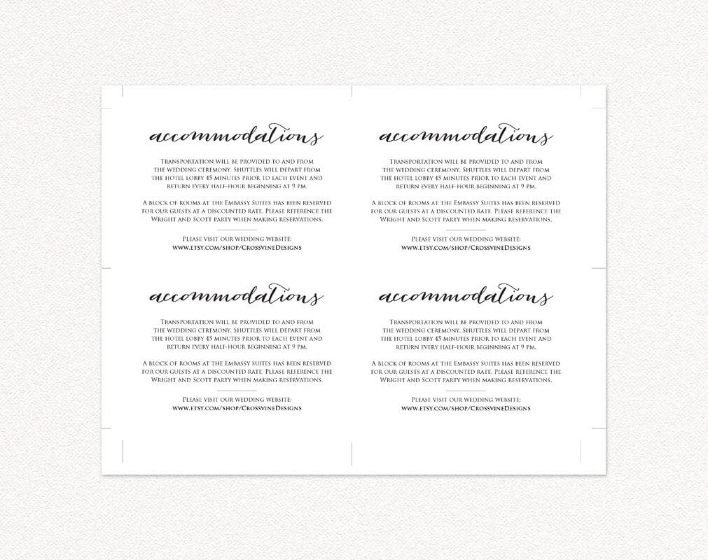 Wedding Accommodations Card Insert · Wedding Templates And Intended For Wedding Hotel Information Card Template