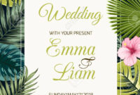 Wedding Event Invitation Card Template. Exotic Tropical Jungle,.. inside Event Invitation Card Template