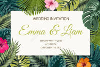 Wedding Event Invitation Card Template. Exotic Tropical Jungle.. intended for Event Invitation Card Template