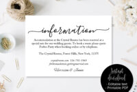 Wedding Guest Details Template, Wedding Guest Accommodation In Wedding Hotel Information Card Template