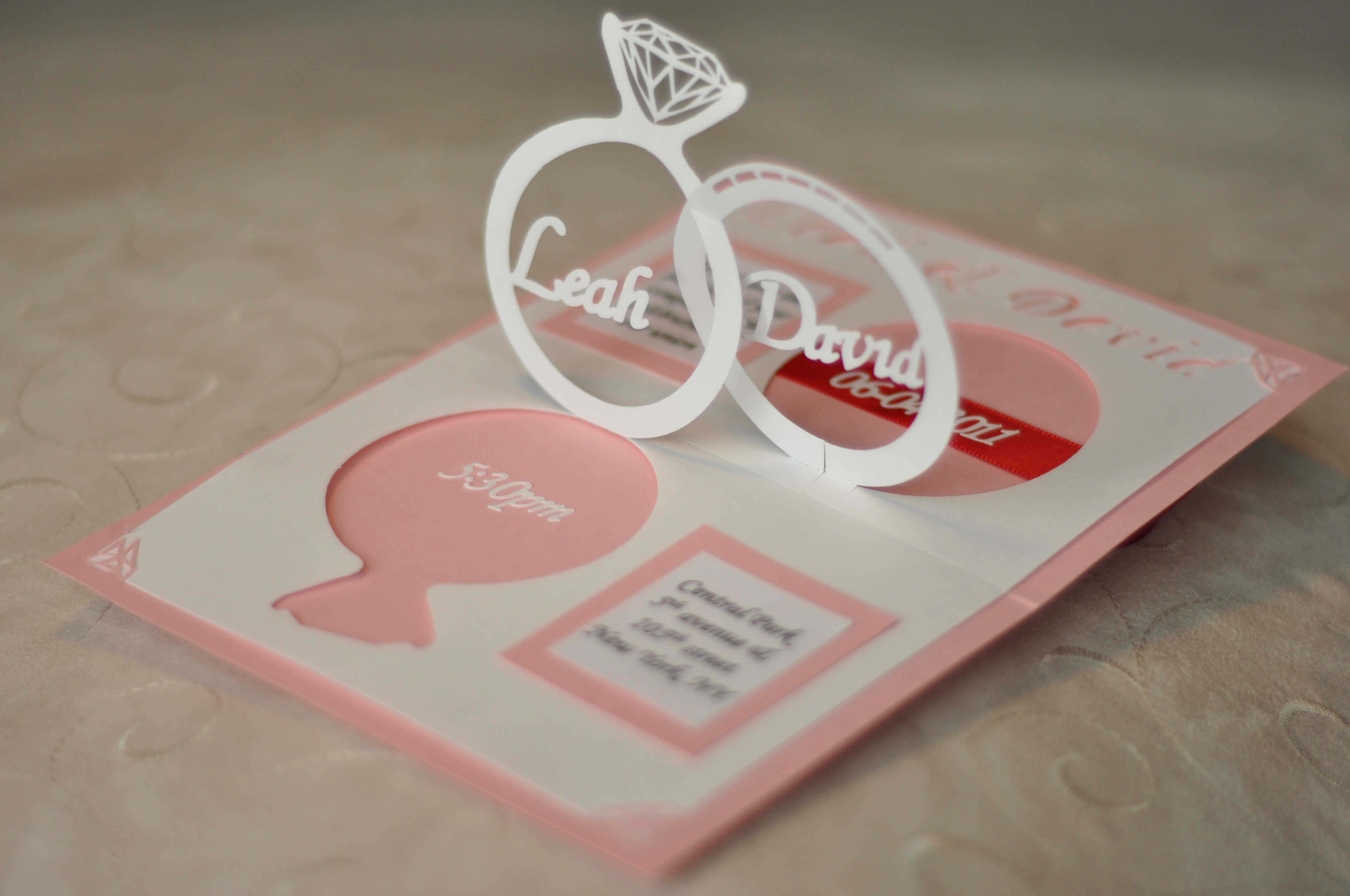 Wedding Invitation Linked Rings Pop Up Card Template In Pop Up Wedding Card Template Free