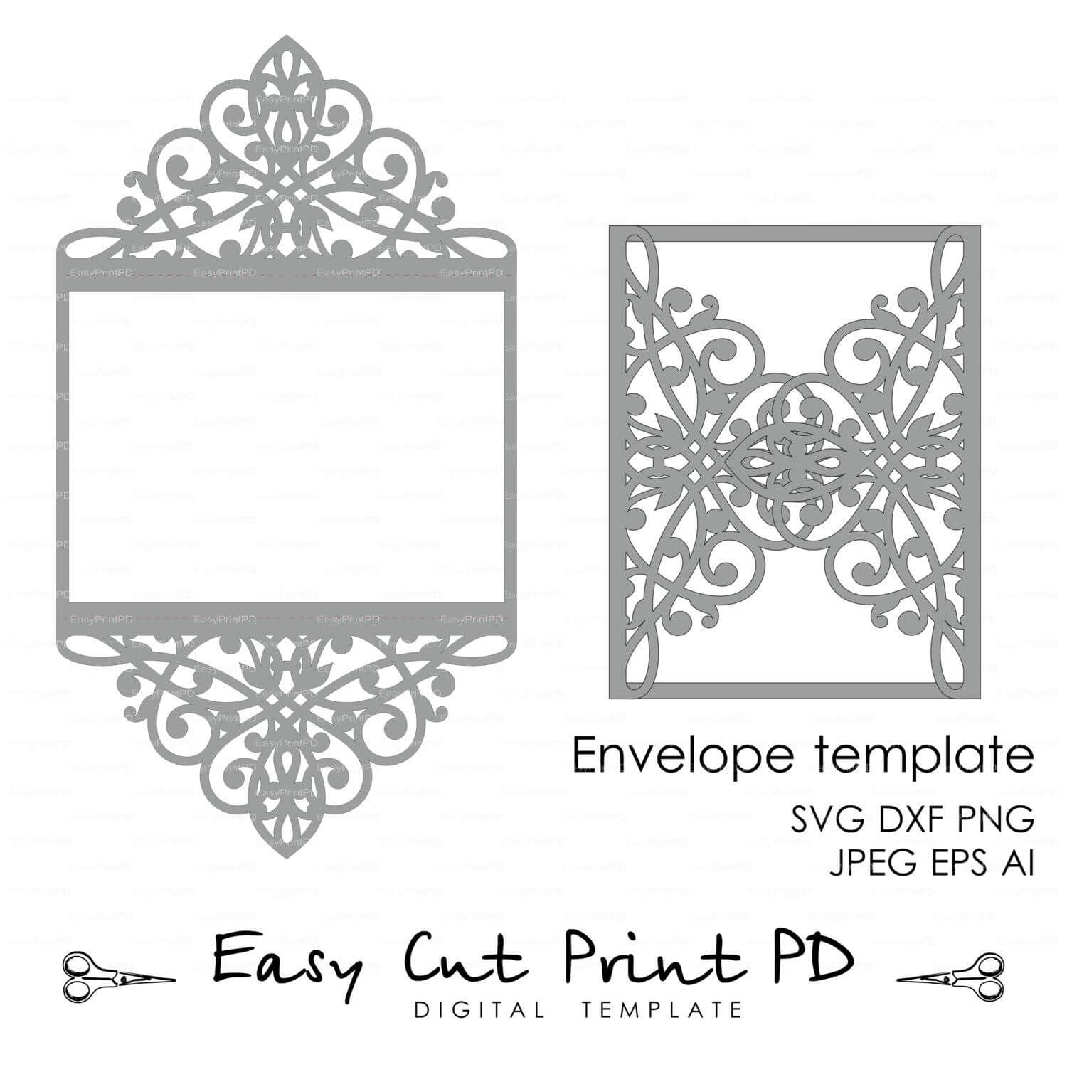 Wedding Invitation Pattern Card Template Lace Folds (Studio With Silhouette Cameo Card Templates