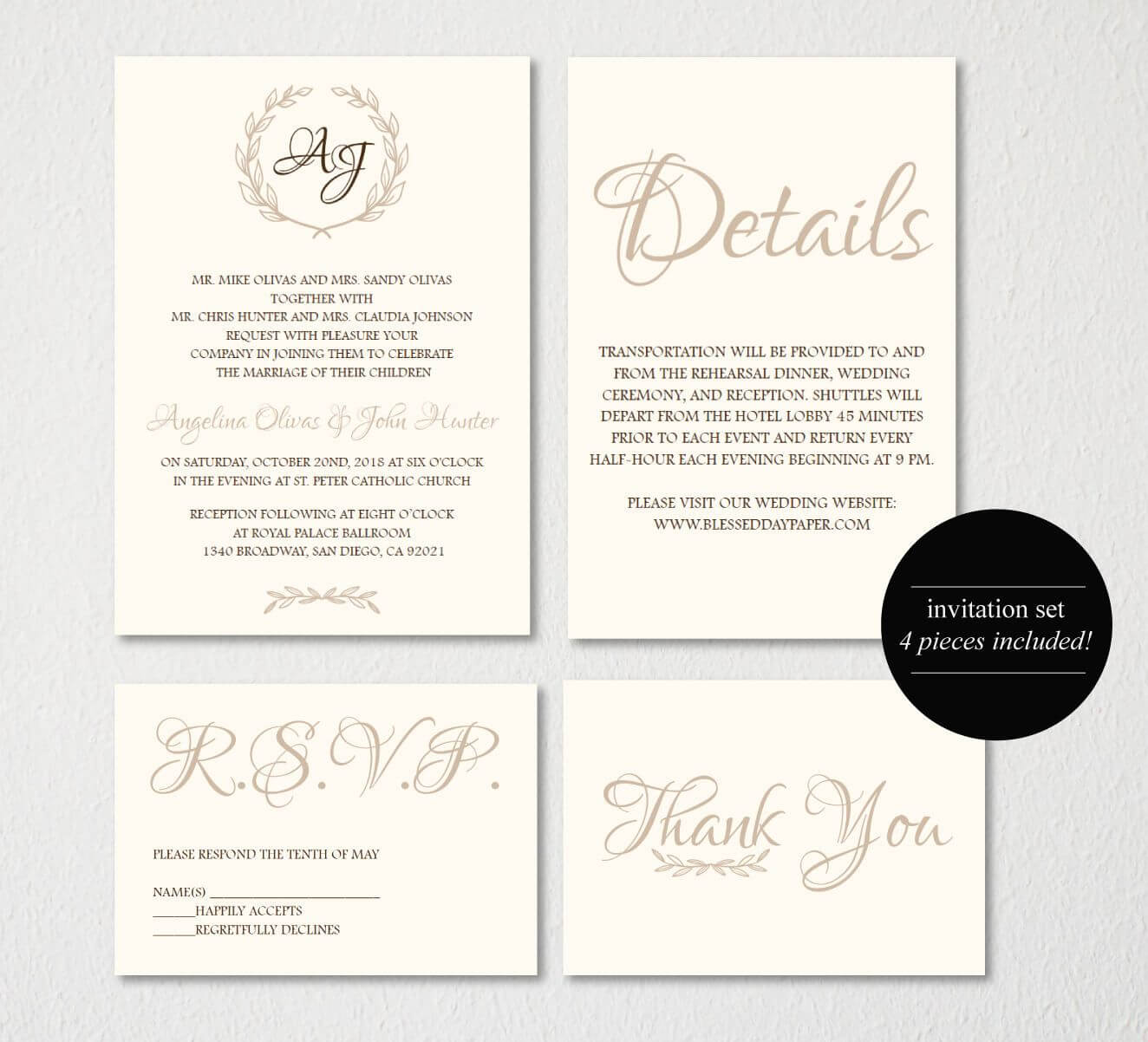 Wedding Invitation Printable/wedding Invitation Template in Wedding Card Size Template