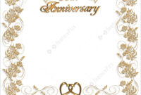 Wedding Invitation Template: 3D Illustrated Design For 50Th Wedding  Anniversary Card Or Invitation Border With Copy Space. inside Template For Anniversary Card