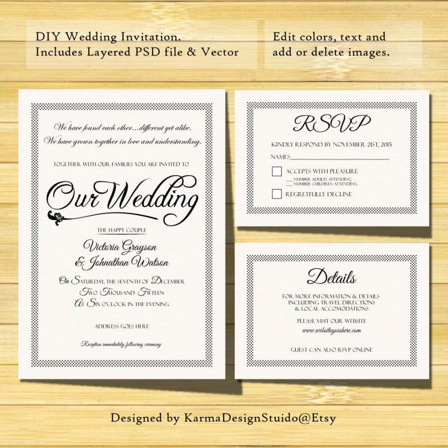 Wedding Invitation Template - Instant Download - Printable with Template For Rsvp Cards For Wedding