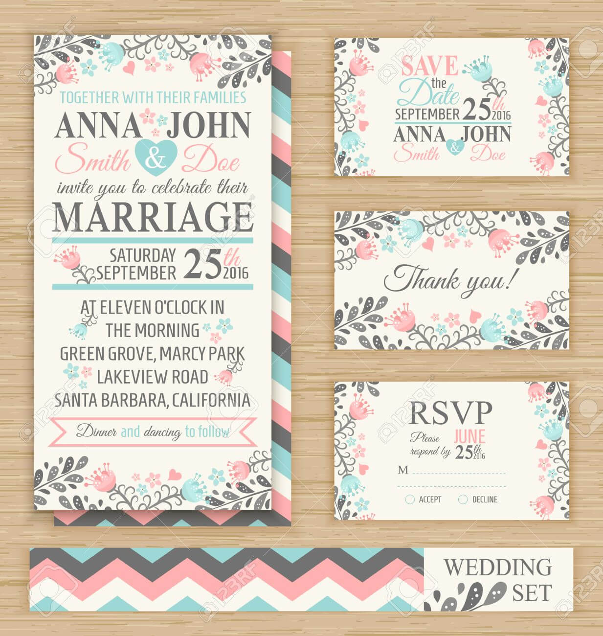 Wedding Invitation Template, Thank You Card, Save The Date, Rsvp.. throughout Template For Rsvp Cards For Wedding