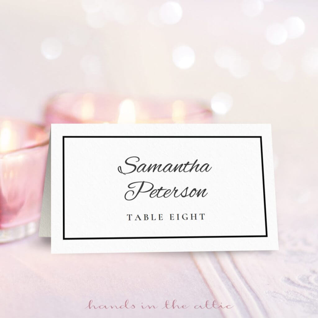 Wedding Place Card Template | Free Download | Hands In The Attic Throughout Place Card Size Template