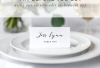 Wedding Place Card Template, Printable Escort Cards, Modern Calligraphy,  Rustic Wedding Place Cards, 100% Editable In Templett with Printable Escort Cards Template