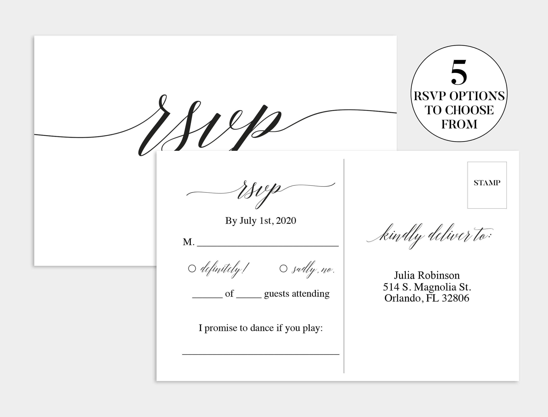 Wedding Rsvp Card | Wedding Rsvp Template | Wedding Rsvp Within Template For Rsvp Cards For Wedding