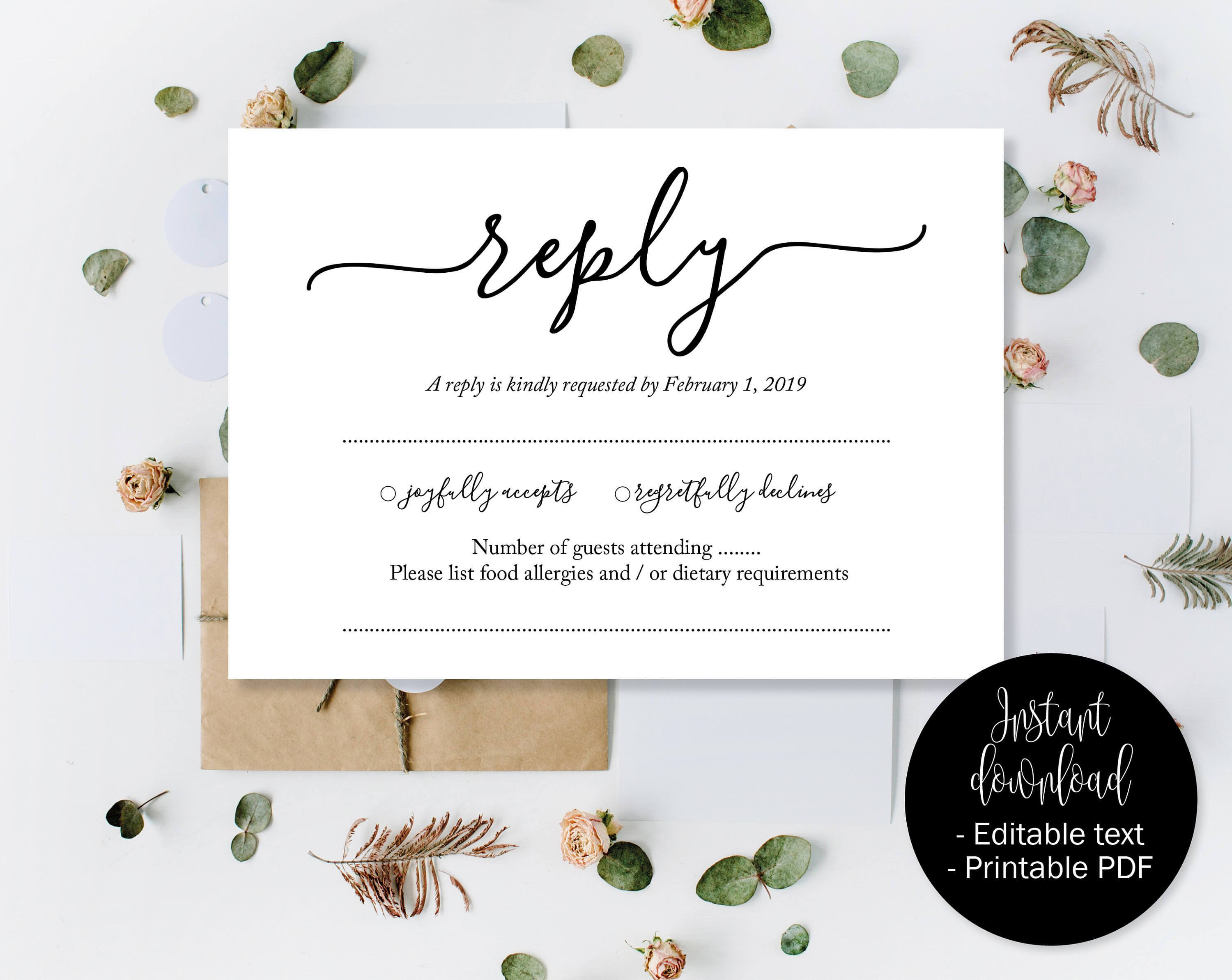 Wedding Rsvp Cards, Wedding Reply Attendance Acceptance with regard to Template For Rsvp Cards For Wedding