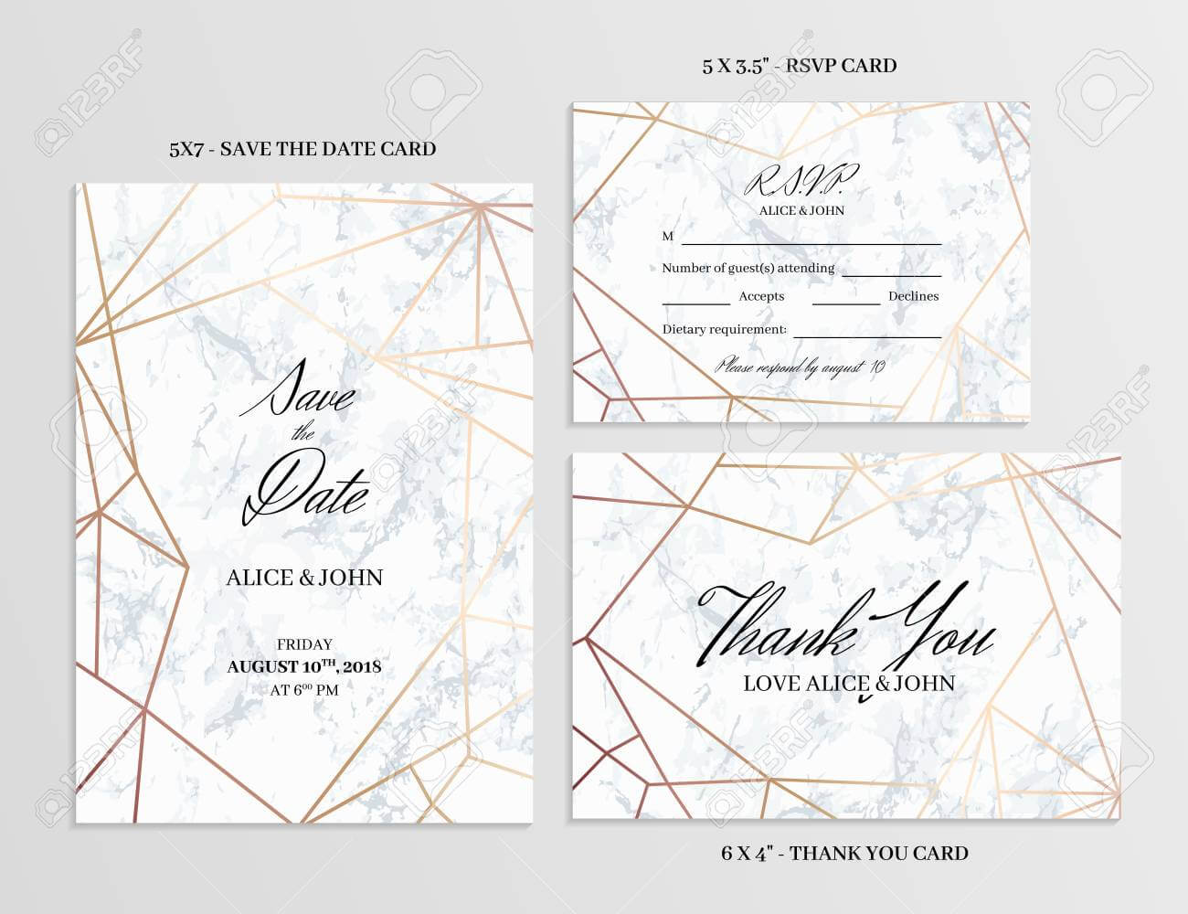 Wedding Set. Save The Date, Thank You And R.s.v.p. Cards Template.. inside Template For Rsvp Cards For Wedding