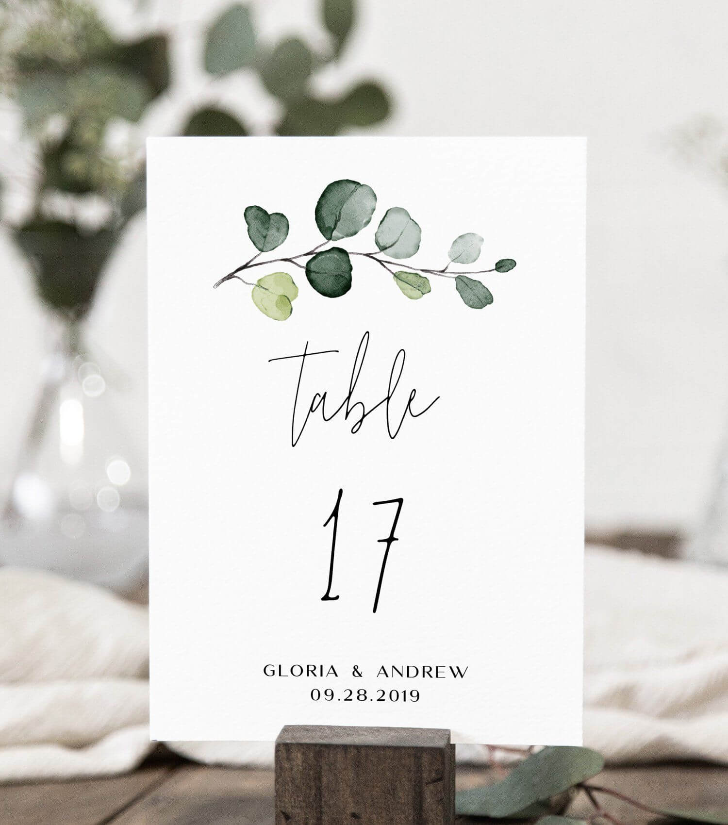 Wedding Table Number Card Template With Hand-Painted with Table Number Cards Template